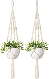2 Pcs Macrame Plant Hangers Indoor Outdoor Hanging Plant Holders/Basket Cotton Rope with Beads 4 Legs 41 Inch …