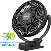 OPOLAR 10000mAh Battery Operated Clip on Fan, 8 Inch Rechargeable Personal Fan, 4 Speeds, USB Desk Fan, Whisper Quiet, Sturdy Clamp Portable for Golf Cart Stroller Treadmill Camping Hiking Home Office