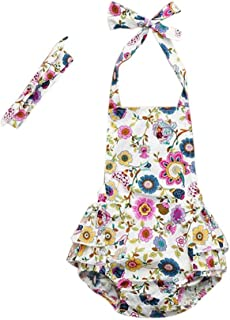 snowvirtuosau 2pcs/Set Infant Girl Summer Floral Sling Romper Headband Kid Outfit Clothes