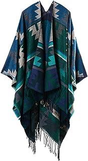 680e8d9267f4 YianBestja Mujeres Poncho Cardigan de Punto con Bloques de Colores de Gran  Tamaño Manta Capas Bufanda
