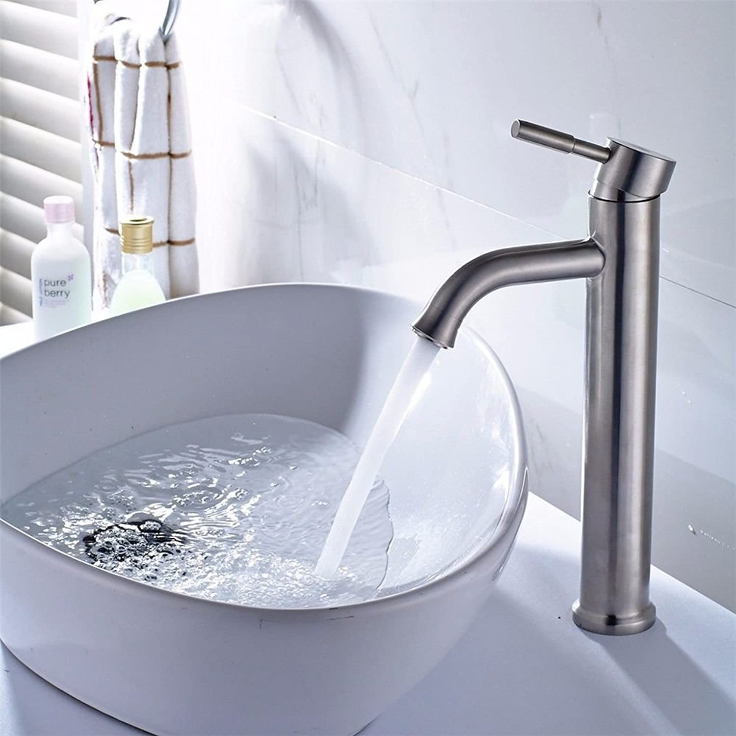 NewBorn Faucet Water Taps Hot And Cold Water 304 Brushed Stainless Steel Bathroomwith High Surface Pots Bathroom Water Tap