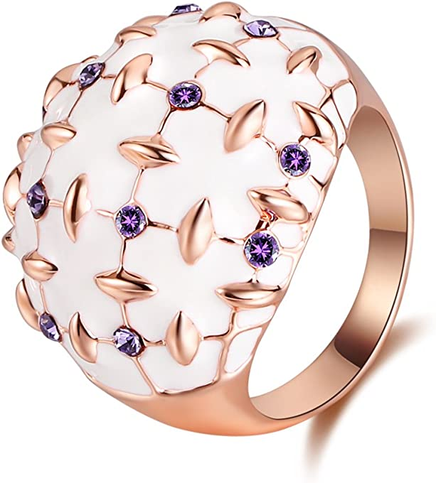 XZP Dome Rings for Women Made with Swarovski Purple Crystal White Enamel Rose Gold Statement Rings