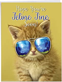 Kool Kitties - Adorable Cat Feel Better Card with Envelope (Big 8.5 x 11 Inch) - Kitten in Sunglasses, Pet Animal Get Well Notecard for Kids - Cute Miss You Greeting Card Stationery J6891AGWG