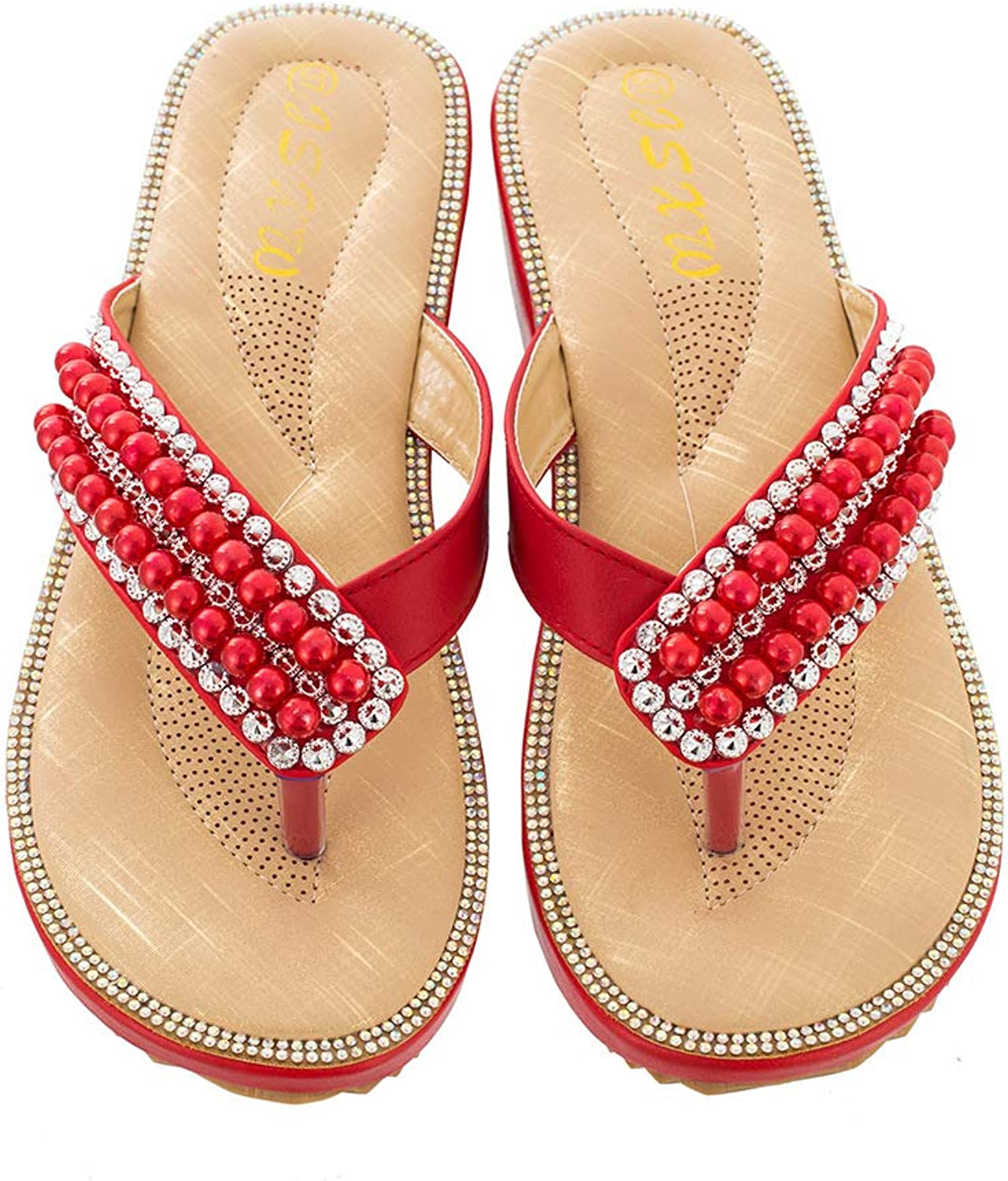 WL Women's Slippers Thong Sandals Summer Bohemia Flip Flops Comfy Beach Pool shoes with Rhinestone Bead,Girls Wedge Sandals Toe Post Water shoes,36-42