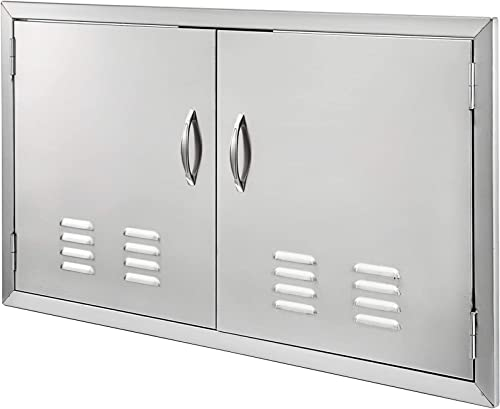discount Mophorn 2021 BBQ Island Door 36 x 21 Beveled Frame Vented Double Access sale Door Stainless Stainless Steel for Outdoor Kitchen online sale