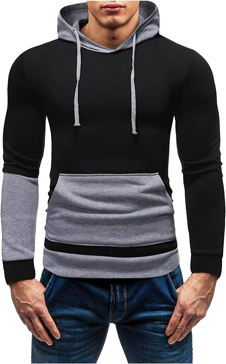 XXBR Patchwork Hoodies for Mens, Fall Color Block Stitching Hooded Sweatshirts Slim Fit Workout Sports Pullover Tops