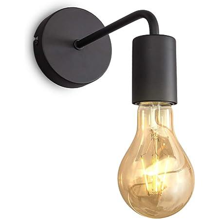 B.K.Licht applique murale design rétro industriel, métal noir, éclairage salon & chambre, lampe de chevet, douille E27, pour ampoule LED 10W max