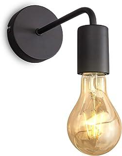 B.K.Licht applique murale design rétro industriel, métal noir, éclairage salon & chambre, lampe de chevet, douille E27, po...