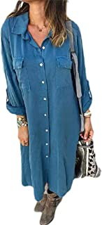 neveraway Women's Shirts Mid-Long Buttoned Long Sleeve Relaxed Plus Size Dress
