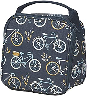 Let's Do Lunch Bicycles Navy Blue 8.5 x 6 Inch Insulated Zipper Lunch Bag with Handle