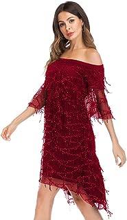 スパンコールのついたドレスセクシーな婦人服長い裾の前に短い襟 (色 : A, サイズ さいず : L l)