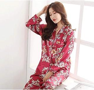 Pijamas Mujer Manga Larga Pijamas Mujer Pantalones De Manga Larga Seda De Hielo Traje De Dos Piezas Primavera Y Otoño Seda Servicio A Domicilio Coreano