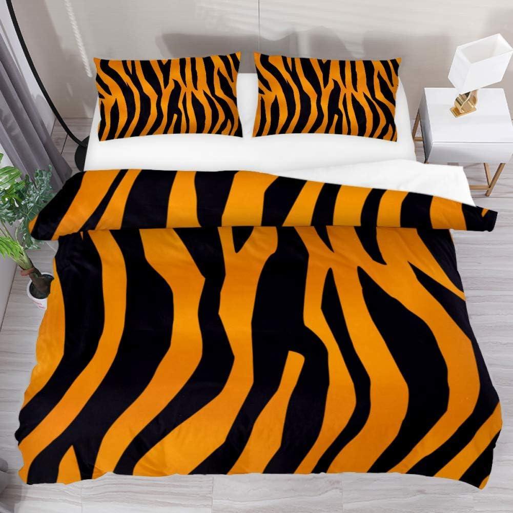 FCZ Bedding Set Tiger Skin Super intense SALE Pattern Stripes Black Si Ranking integrated 1st place Orange Queen
