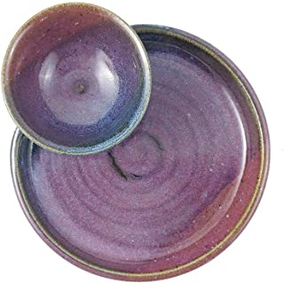 American Made Stoneware Pottery Chip and Dip Tray in Plum Blue (9