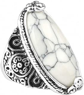 Flower Band Oval Natural Stone Ring for Women Vintage Look Antique Silver Fashion Retro Jewelry