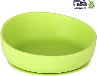 Plato Bebe Ventosa, Plato Bebe Silicona, iKiKin Cuenco con Ventosa Bebe para Bebés o Niños, Antideslizante, Sin BPA, Certificado por FDA, Apto para Microondas y Lavavajillas (Verde)