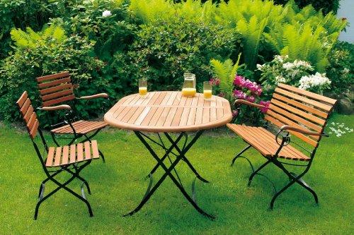 gartenmoebel-einkauf Klappgarnitur Schlossgarten 5-teilig, Stahl + Eukalyptus, FSC®-Zertifiziert