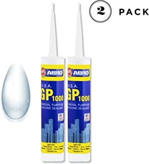 ABRO GP-1000 General Purpose Silicone Sealant Water Resistant Surface Adhesive for Glass, Wood, Metal & Tiles 260 ml (Pack of 2, Clear)