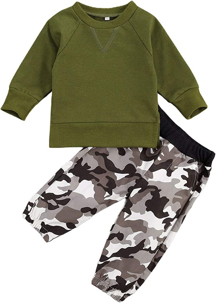 Newborn Infant Baby Boy Fall Winter Outfits Cotton Sweatshirt Long Sleeve T-Shirt Top Pants Sweatsuit Clothes Set (A-Camouflage, 18-24Months)