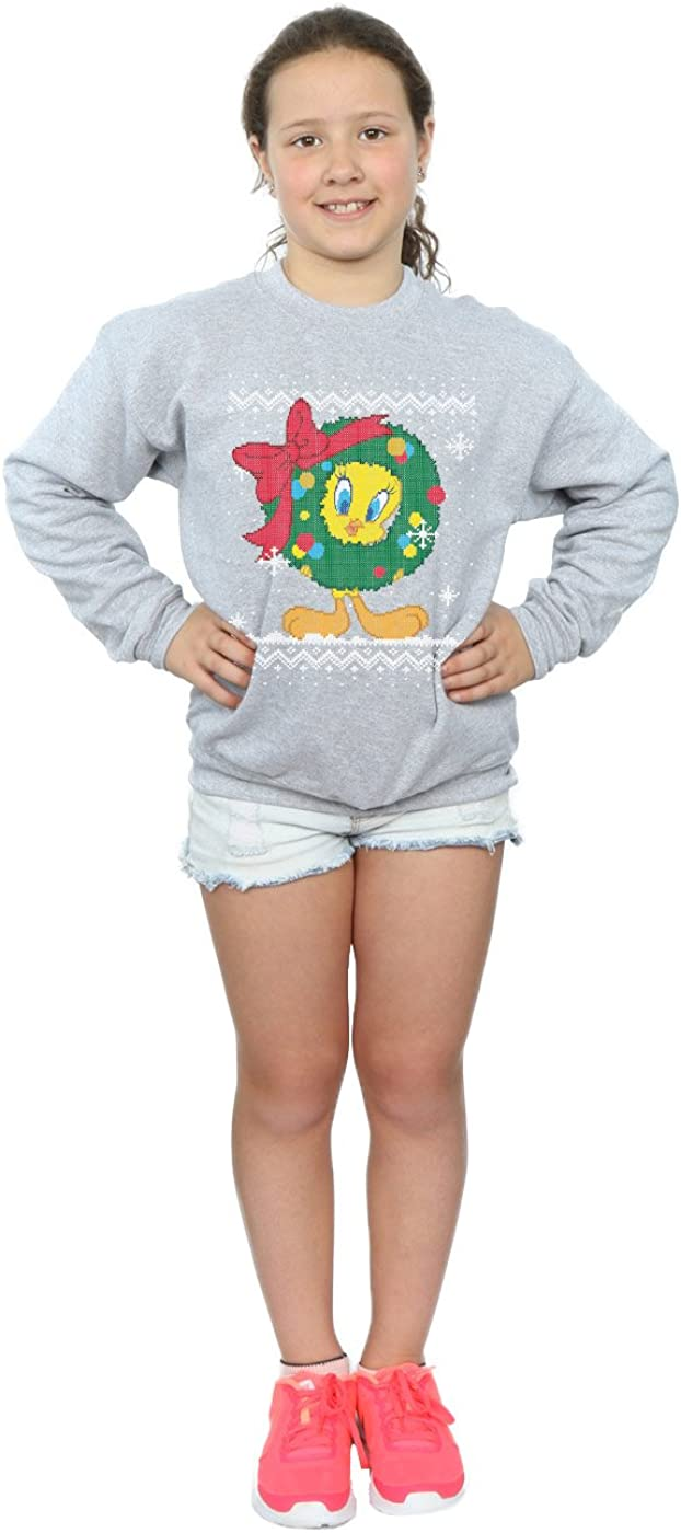 Looney Tunes Girls Tweety Pie Christmas Fair Isle Sweatshirt