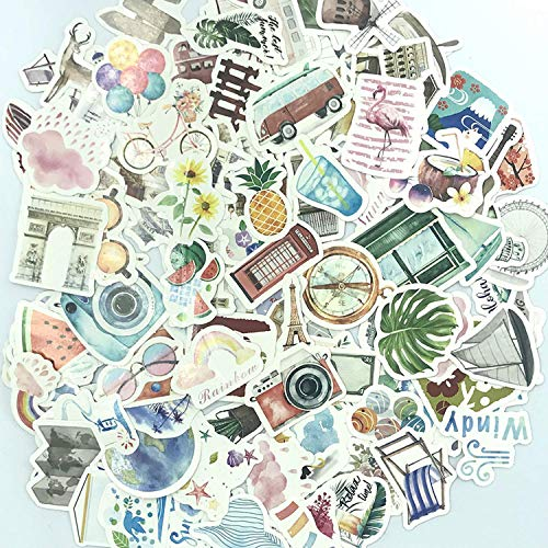 125 Pieces Watercolor Travel and Outdoor Adventure Stickers,Cartoon Waterproof Vinyl Pop Phone Guitar Skateboard Motorcycle Suitcase Sticker Decal for Teens Planners and Journals