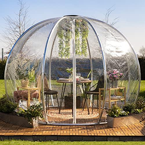 astreea Igloo Iglu Model L mit PVC Bezug, transparent, sehr widerstandsfähig, ideal für Terrasse und Garten, für Zuhause, Restaurant, Hotel, Camping
