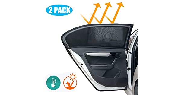Fit for Most Vehicles VONDERSO Car Window Shade with Breathable Mesh Window Sunshade to Protect Baby Pets from the Sun UV Rays Protection and Full Cover Car Windows