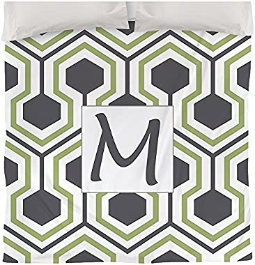 Manual Woodworkers & Weavers Duvet Cover, King, Monogrammed Letter M, Grey Honeycomb