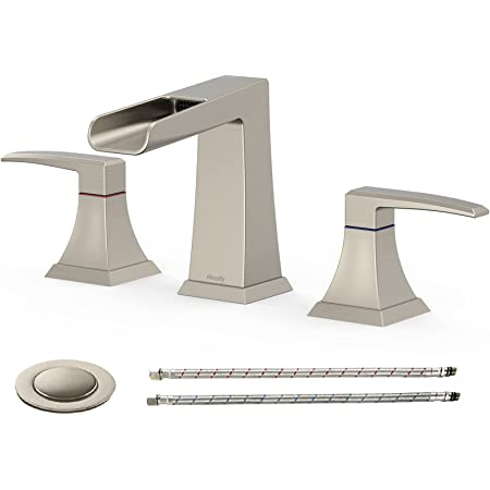 Hosslly Waterfall Widespread Bathroom Faucet 2 Handle Waterfall Bath Vanity Faucets Waterfall Bathroom Sink Faucet 3 Hole With Metal Pop Up Drain Assembly Faucet Supply Lines Brushed Amazon Com