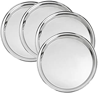 King International 100% Stainless Steel | Dinner Plate | Set of 4 Mess Trays Great for Camping, Kids Lunch and Dinner or Every Day Use - 30 cm for Ice Cream, Dessert, Small Side Dishes, Salad