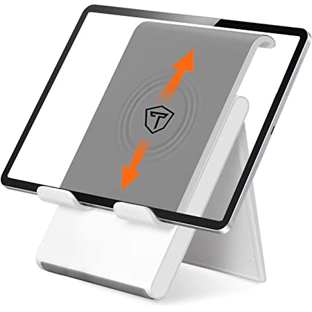 Tukzer Foldable & Portable Desktop Telescopic Smartphone Tablet Table Stand with Adjustable Height, Angle & Silicone Pad Supports Upto 11 Inch Tab for Android & Mobile, Silver (TZ-T9)
