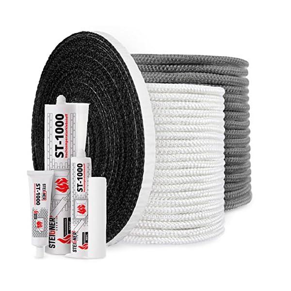 STEIGNER Cordón de Fibra de Vidrio SKD02-6, 1 m, 6 mm, Gris Oscuro Sellador Resistente a Temperaturas hasta 550°C