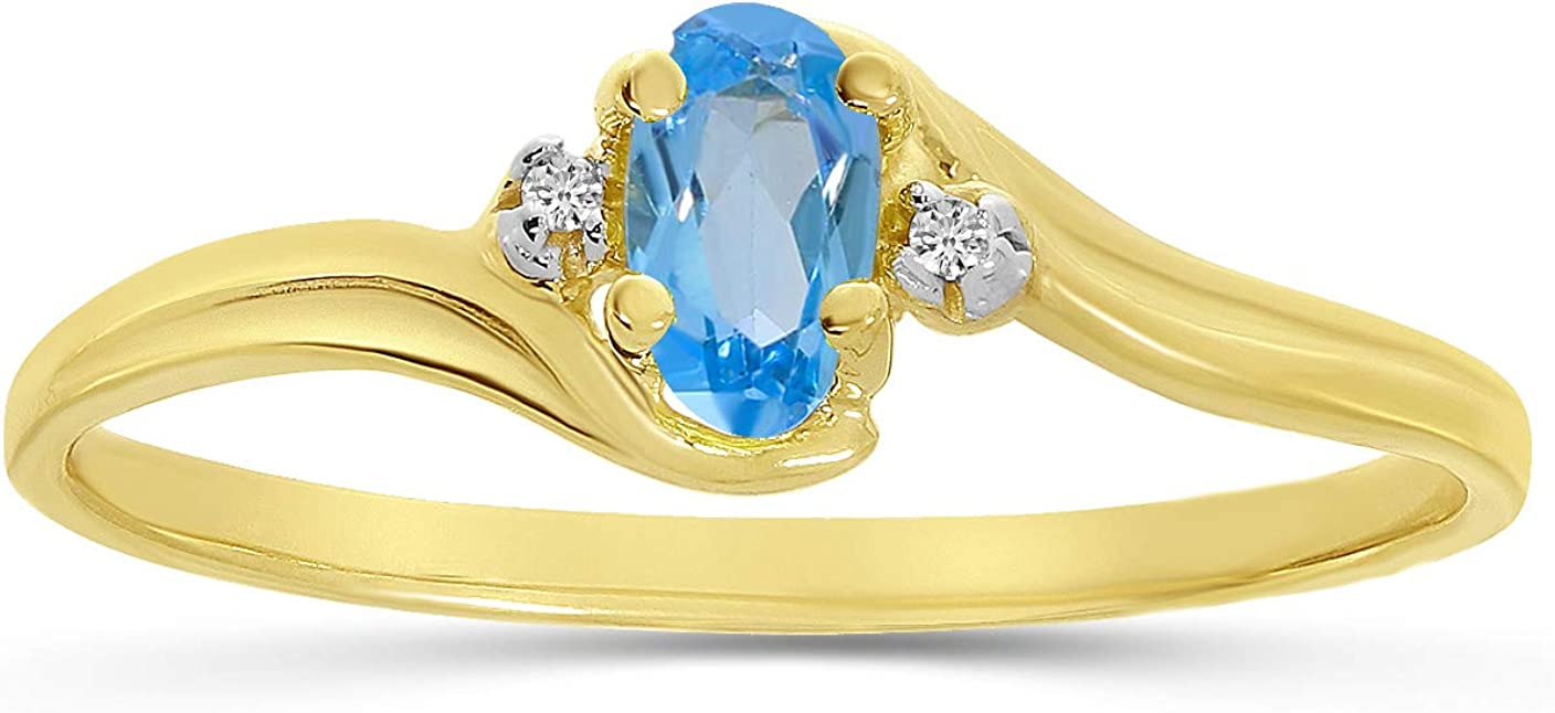Cheap Blue Topaz and Ranking TOP4 Diamond Ring Gold 10K Yellow in