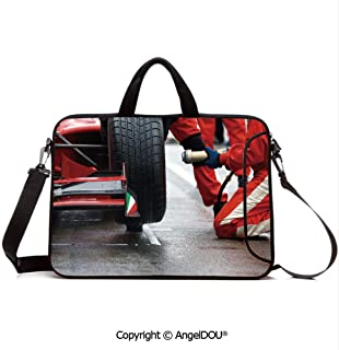 AngelDOU Customized Neoprene Printed Laptop Bag Notebook Handbag Professional Racing at Work Pit Stop Racecar Fast Tyre Changing Image Compatible with mac air mi pro/Lenovo/asus/acer Multico