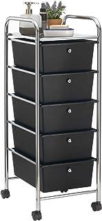IDIMEX Caisson sur roulettes GINA Chariot avec 5 tiroirs en Plastique Noir et 1 étagère, Meuble de Rangement pour Salle de...