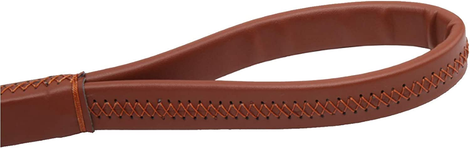 Dog Lead Leather Dog Pet Lead Leash Traction Rope with Clip for Collar Harness Medium & Large Dogs Running Walking Hiking,Brown,2.5  50Cm Dog Training Leash (color   Brown, Size   2.5  50cm)