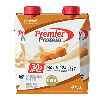 Premier Protein Shake, Caramel, 30g Protein, 1g Sugar, 24 Vitamins and Minerals, Nutrients to Support Immune Health 11 fl oz, Pack of 4