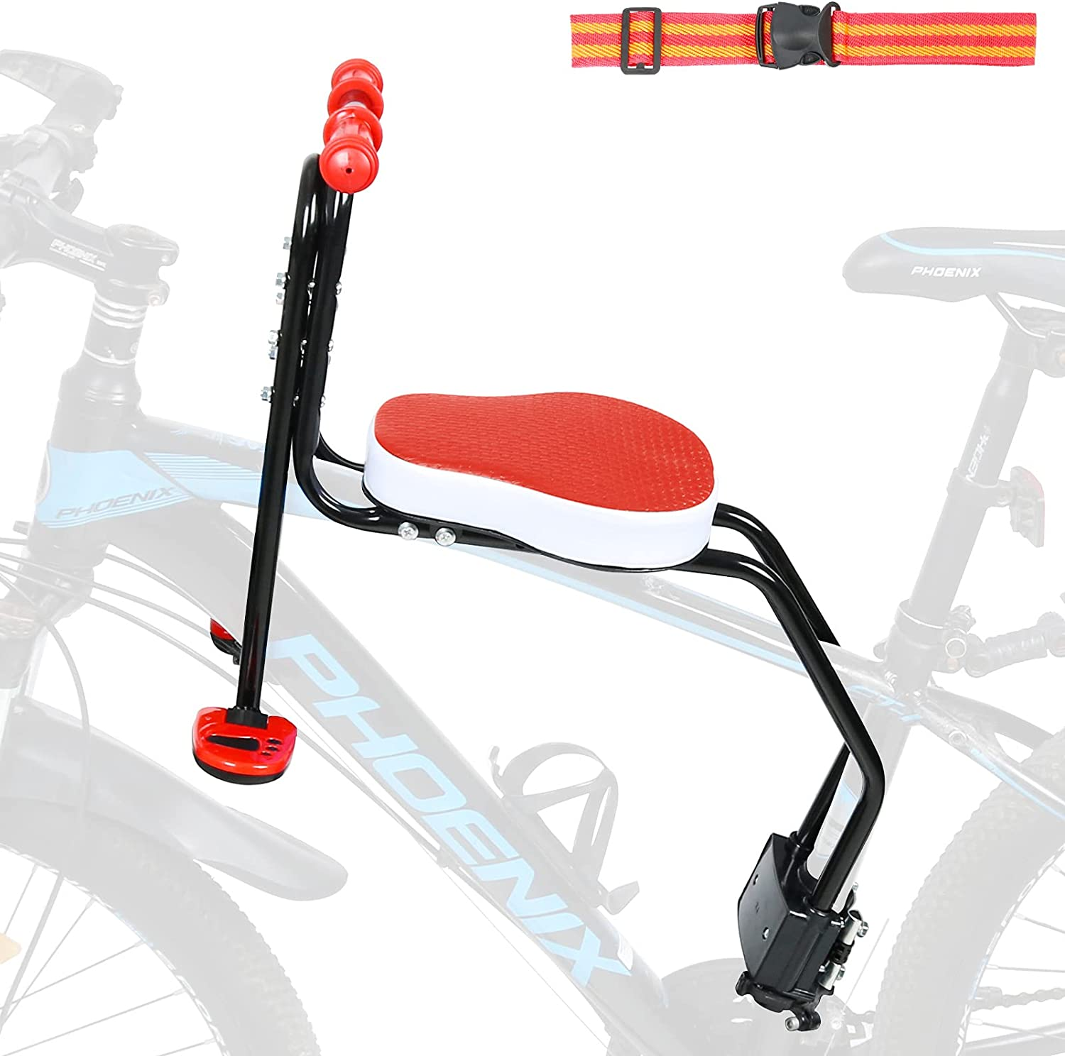 INNOLIFE Child Bike Seat, Kids Bicycle Seat Front Mounted Child Bike Carrier with Handrail & Foldable Pedals for 3-6 Years Children, Kids,Toddlers