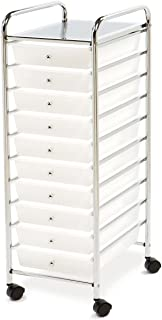 Multi-Use 10 Drawer Rolling Cart , Clear White and Chrome