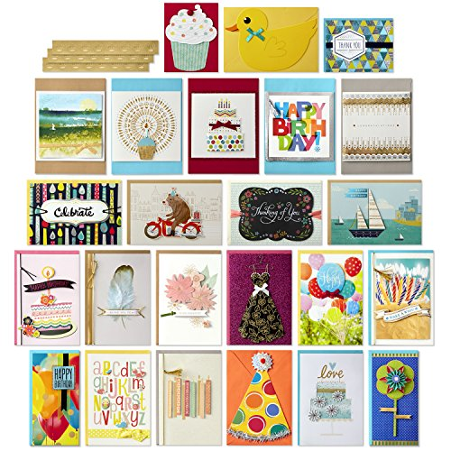 Hallmark All Occasion Handmade Boxed Greeting Card Assortment (Pack of 24)—Birthday, Baby, Wedding, Sympathy, Thinking of You, Thank You, Blank - 5EDX1011