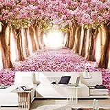 ZYZED Wallpaper Individuelle Fototapeten3D Romantische Kirschblüten Großes Wandgemälde Pink FloralFür Mädchen Schlafzimmerwände, Pink