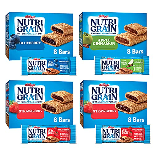 Nutri-Grain Soft Baked Breakfast Bars, 3 Flavor Variety Pack, Whole Grain Snacks, Kids Snacks (32...