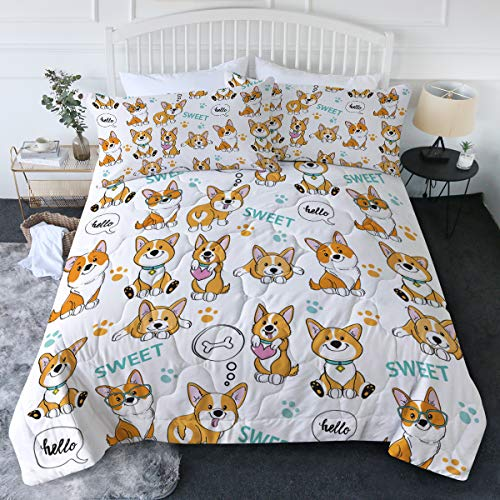 BlessLiving Cartoon Dogs Comforter Set with Pillow Shams 3 Piece Orange Welsh Corgi Bedspreads for Kids Teens Girls Boys Breathable Machine Washable (Full/Queen)