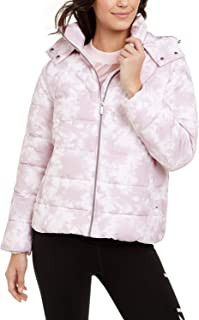 Calvin Klein Performance Women's Printed Hooded Puffer Jacket Tie Dye Secret Combo XS