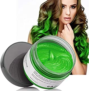 MOFAJANG Hair Coloring Dye Wax, Green Instant Hair Wax, Temporary Hairstyle Cream 4.23 oz, Hair Pomades, Natural Hairstyle Wax for Men and Women Party Cosplay