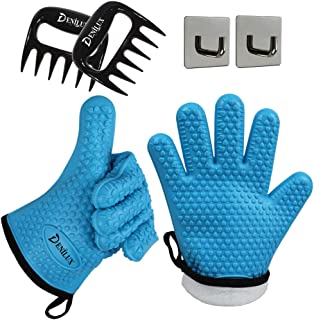 DENILUX Heat Resistant Silicone Cooking Gloves Oven Mitt with Protective Cotton Layer for Baking Grilling BBQ Kitchen Water Proof Washable&Meat Claws&Hooks (One Size Fits Most, Blue)
