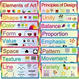 "Elements of Art Principles of Design 16 Art Posters 7"" x 17"" Educational Posters Classroom Decoration"
