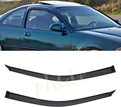 PLDDE 2 pcs For 92-95 Honda Civic 2-Door Coupe/3-Door Hatchback Front+Rear Sun/Rain Guard Outside Mount Window Visors