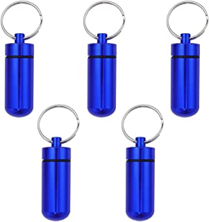 ROSENICE Aluminum Alloy Keyring Pill Box Hoder Waterproof Air-tight Medicine Case Container Tablet 5PCS (Blue)