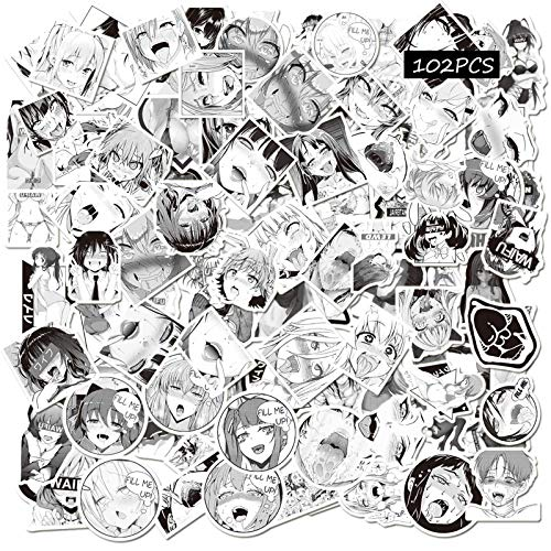 Ahegao Waifu Aufkleber, 102 Stück, Anime-Aufkleber für Erwachsene, schwarz, weiß, für Computer, Hydroflaschen, Reiseetui, Skateboard-Aufkleber